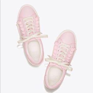 Tory Burch Ruffle Sneaker Pink/White NWT/nib